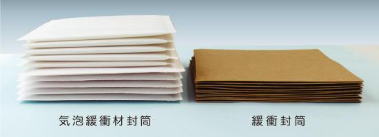 クッション封筒と、紙ネット封筒の比較
